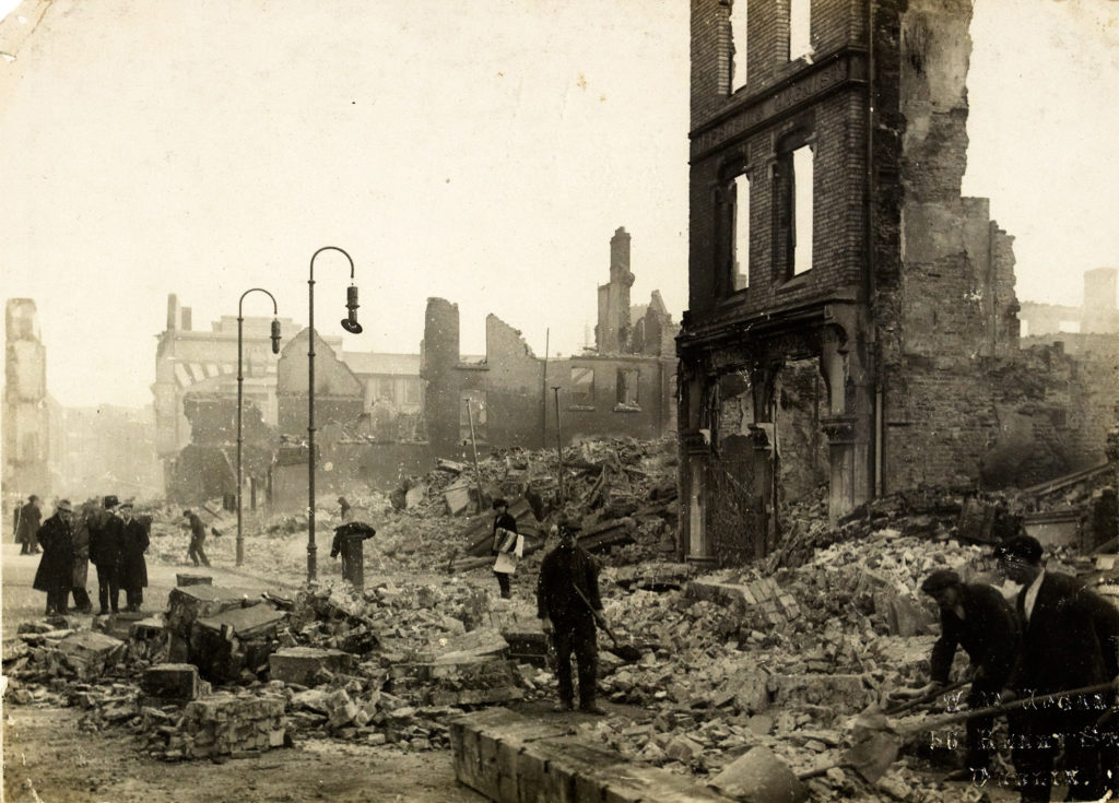December 1920 photograph showing St Patrick's Street, Cork, following the burning of the city by British forces.