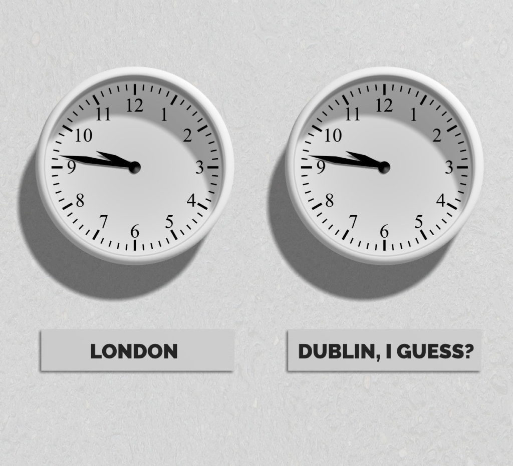 "Two clocks, both showing the same time. One has a sign reading ""LONDON"", the other ""DUBLIN, I GUESS?"""