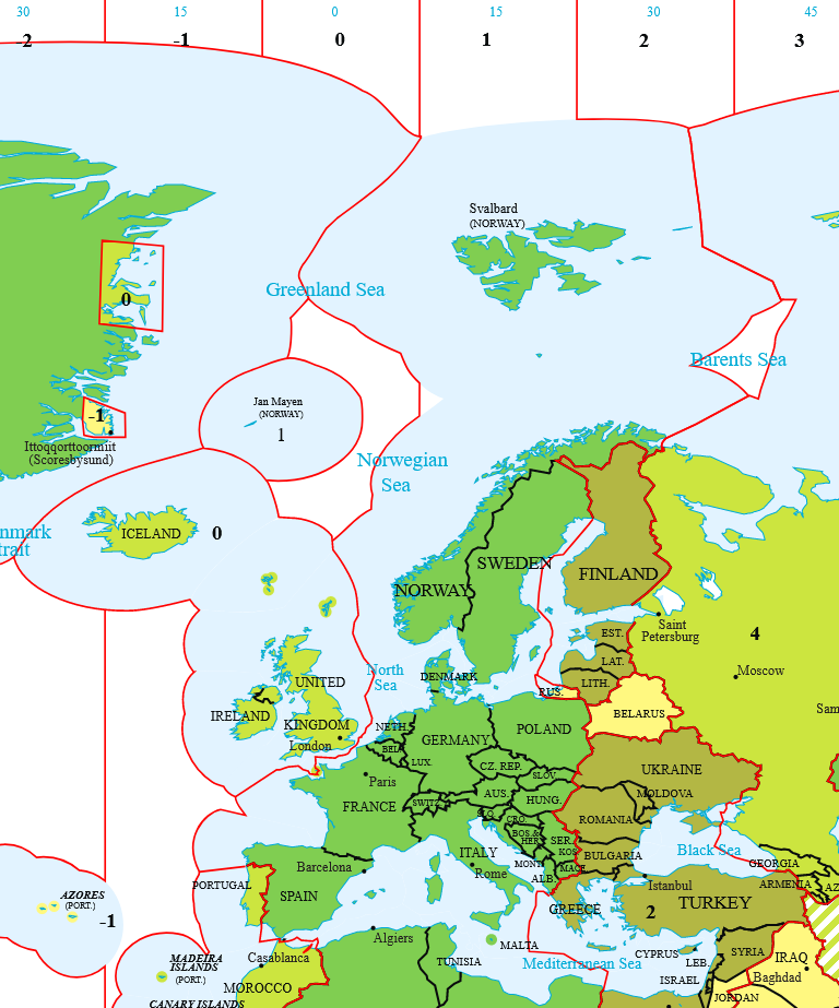 Map showing timezones of Europe. The UK and Ireland are grouped (along with Iceland) in a zone labelled as being UTC+0.