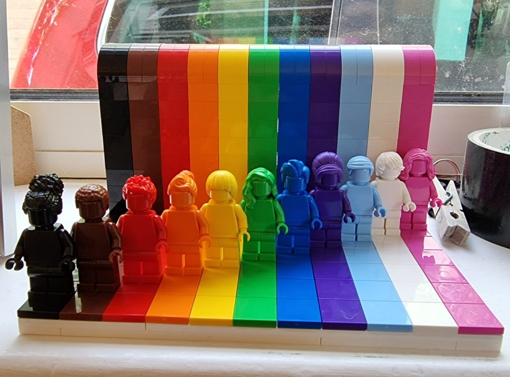 Everyone Is Awesome LEGO mode showing BIPOC/LGBTQ+ colours.