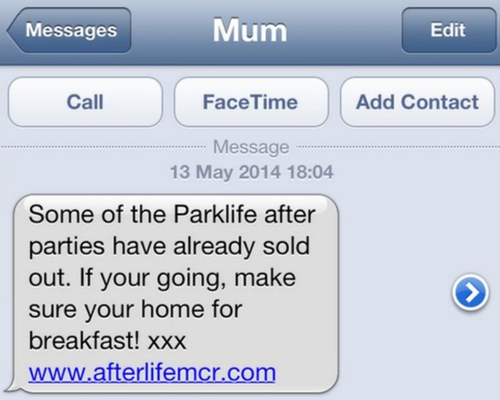 """Text message from """"Mum"""", but actually a marketing text."""