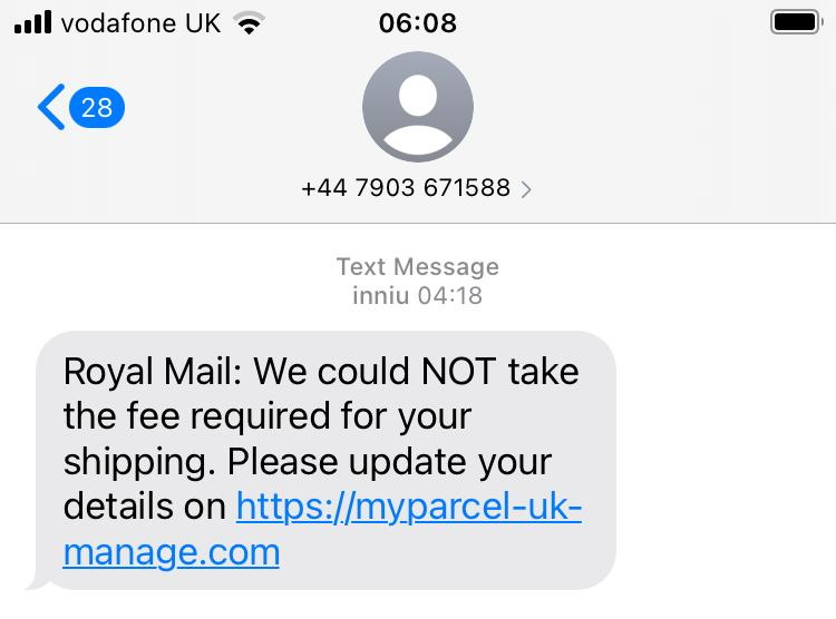 """Scam SMS from """"Royal Mail"""" asking the recipient to go to myparce-uk-manage.com to pay a """"fee required for shipping"""", shown on an iPhone screen"""
