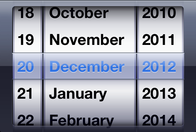 """Date """"spinner"""" currently showing 20 December 2012."""