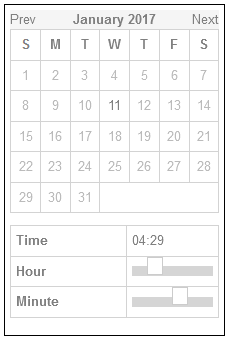Calendar datepicker with slider-based timepicker and no text-based fallback.