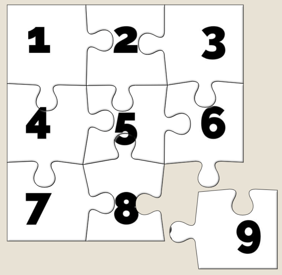 A nine-piece jigsaw puzzle with the pieces numbered 1 through 9; only the ninth piece is detached.