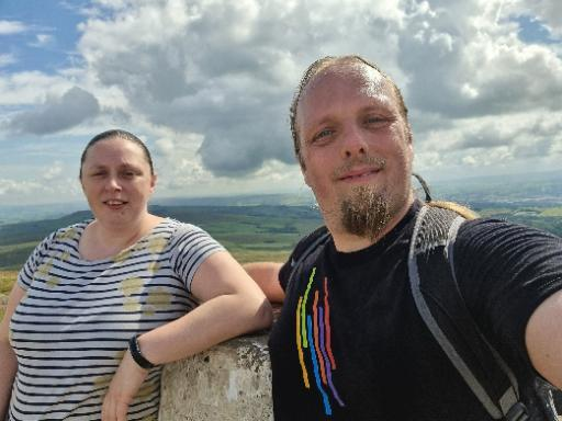 Ruth and Dan at the trig point atop Pendle Hill