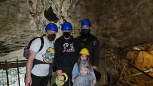 """Dan, Ruth, JTA and the kids above the """"bottomless pit"""" in Speedwell Cavern."""