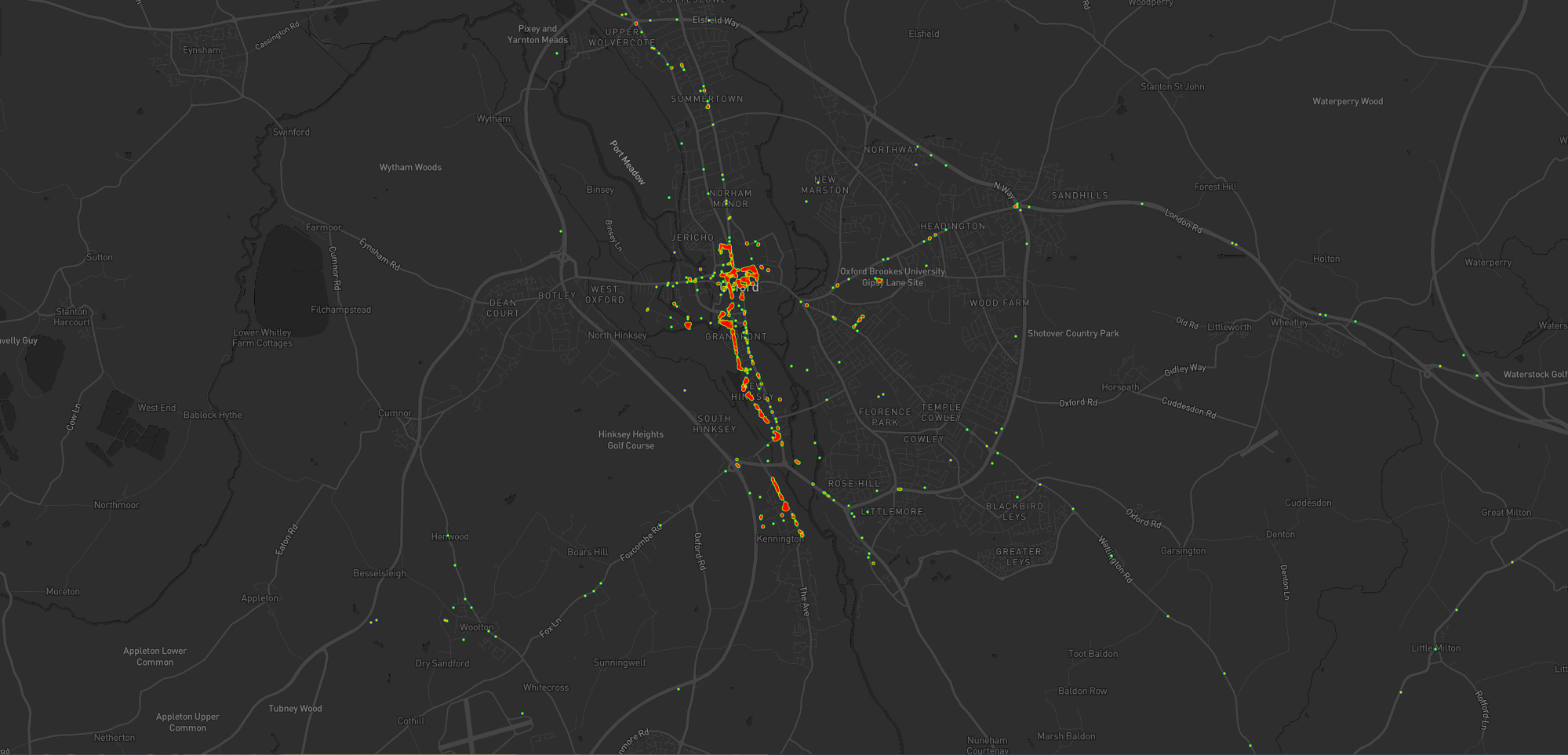 Heatmap showing Dan's movements around Oxford during the period he lived in Kennington. Again, it's dominated by time at home, in the city centre, and commuting between the two.