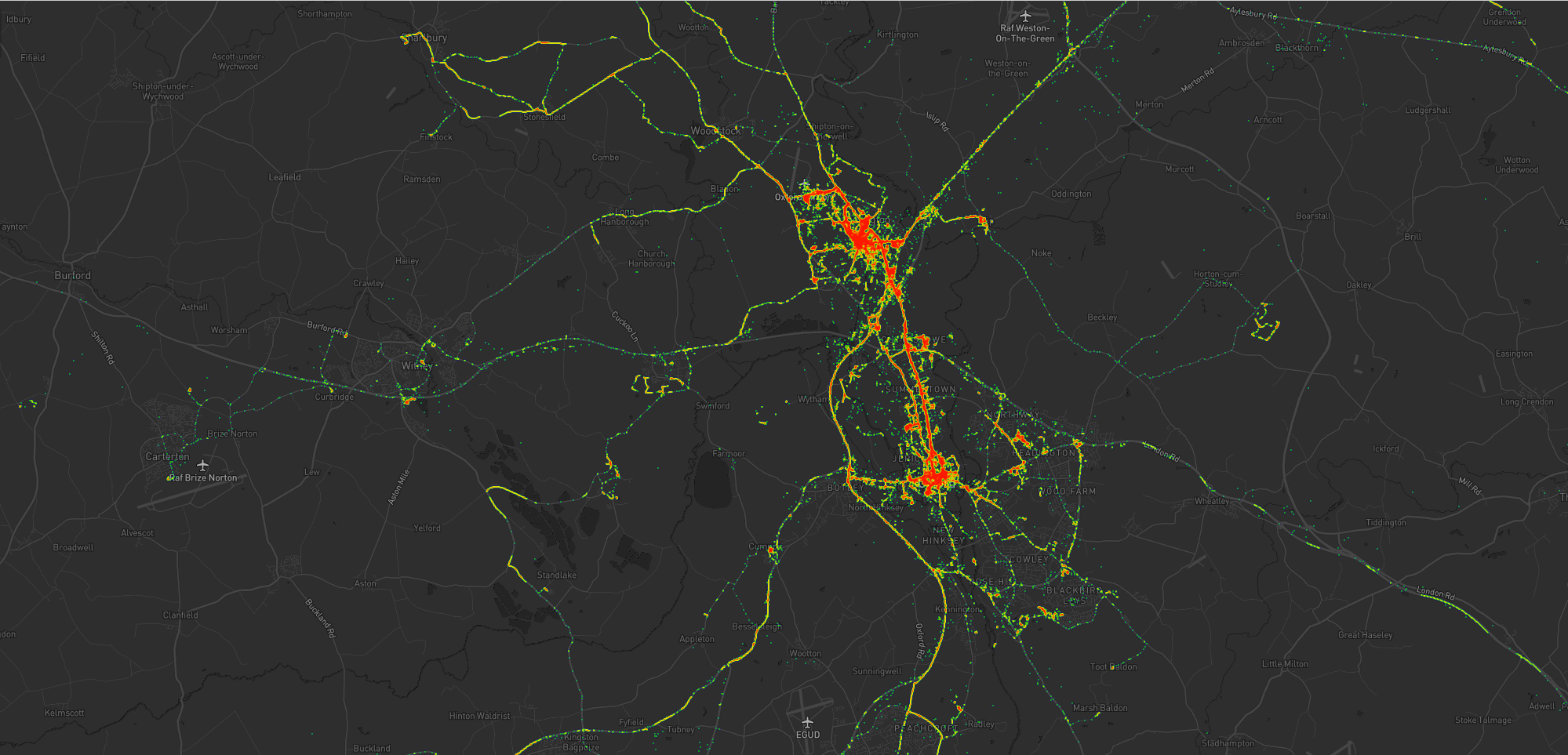 Heatmap showing Dan's movements around Kidlington, including a lot of time in the village and in Oxford City Centre, as well as hotspots at the hospital, parks, swimming pools, and places that Dan used to volunteer. Individual expeditions can also be identified.
