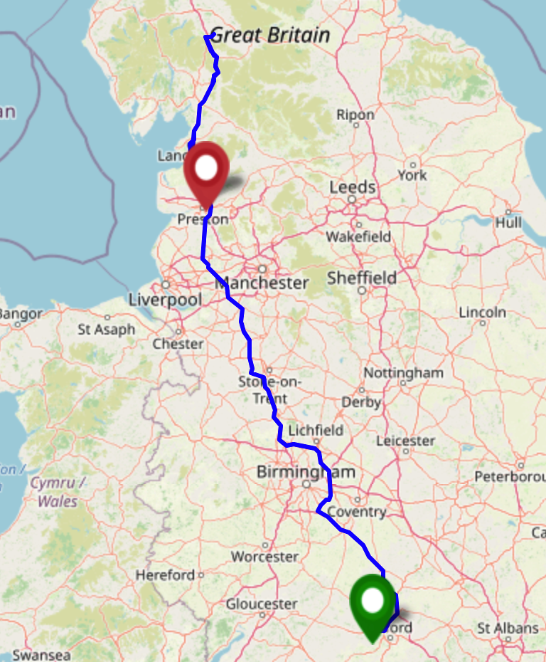 Tracklog map showing a journey from Oxfordshire to Cumbria via a hashpoint in Lancaster, then on to Preston.