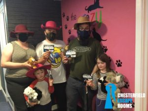 Dan, Ruth, JTA and the kids at the Crazy Cat Lady escape room.