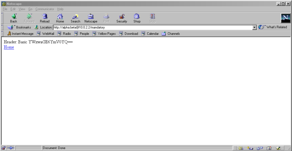 Netscape Communicator 4.7 showing credentials in a URL, passed to a server.