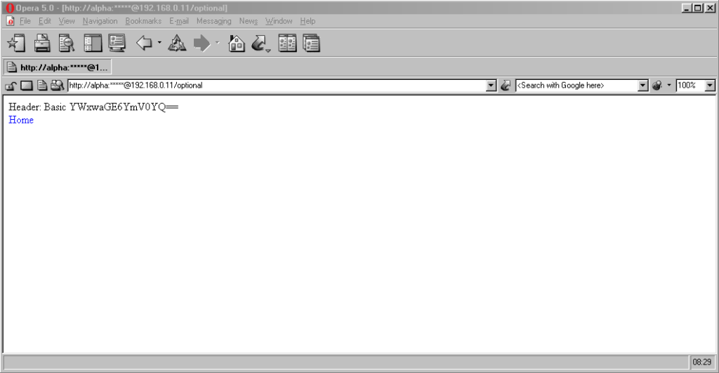 Screenshot of Opera 5 showing credentials in a web address with the password masked, being passed to the server on an optional page.