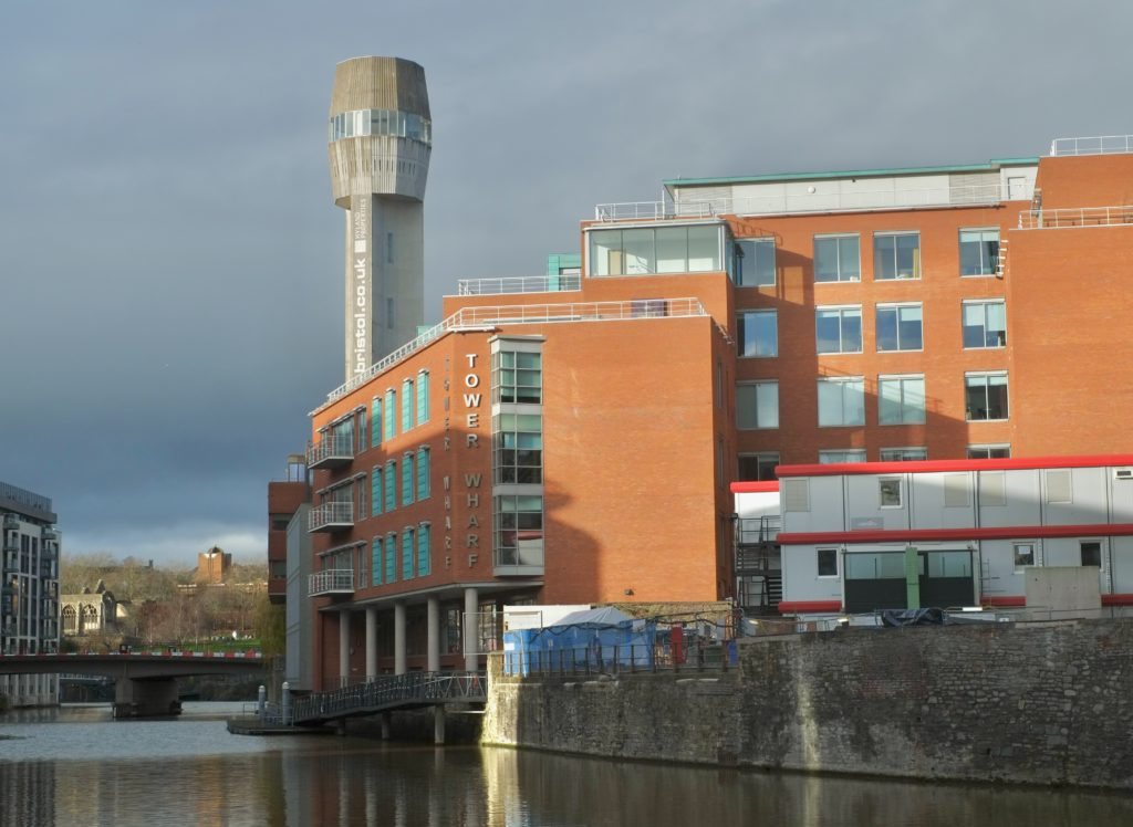 1969 shot tower at Tower Wharf, Bristol. Photo by Anthony O'Neil, used under a Creative Commons license.